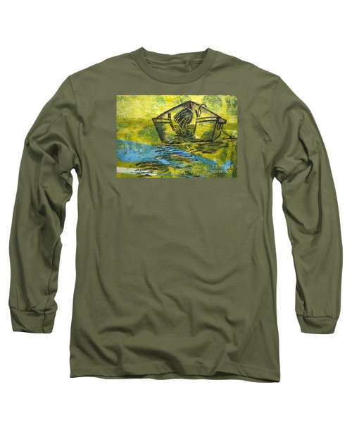 Long Sleeve T-Shirt featuring the mixed media Solitaire by Cynthia Lagoudakis