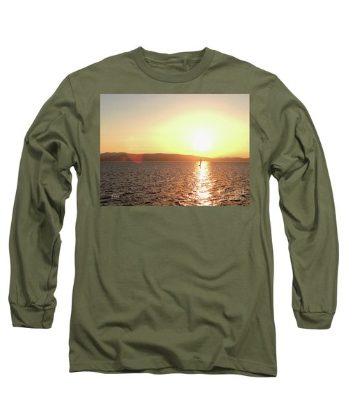 Solitary Sailboat Long Sleeve T-Shirt by Felipe Adan Lerma