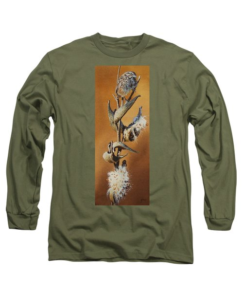 Song Sparrow And Milkweed Long Sleeve T-Shirt