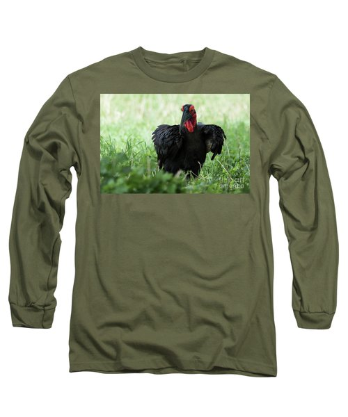 Southern Ground Hornbill Eating An Insect In Tarangire Long Sleeve T-Shirt