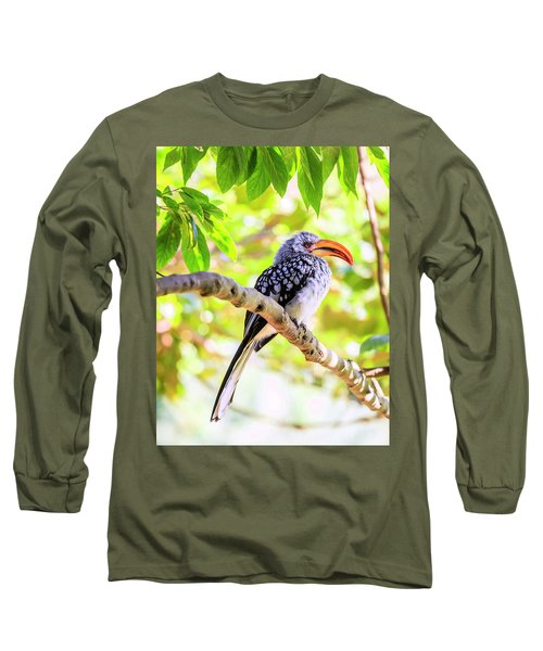 Long Sleeve T-Shirt featuring the photograph Southern Yellow Billed Hornbill by Alexey Stiop
