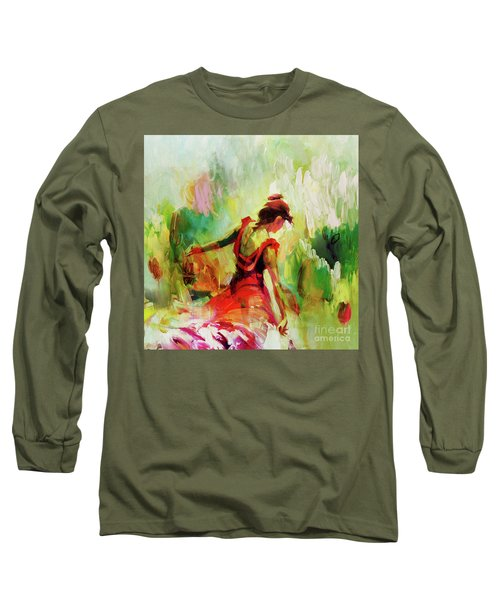 Long Sleeve T-Shirt featuring the painting Spanish Female Art 56y by Gull G