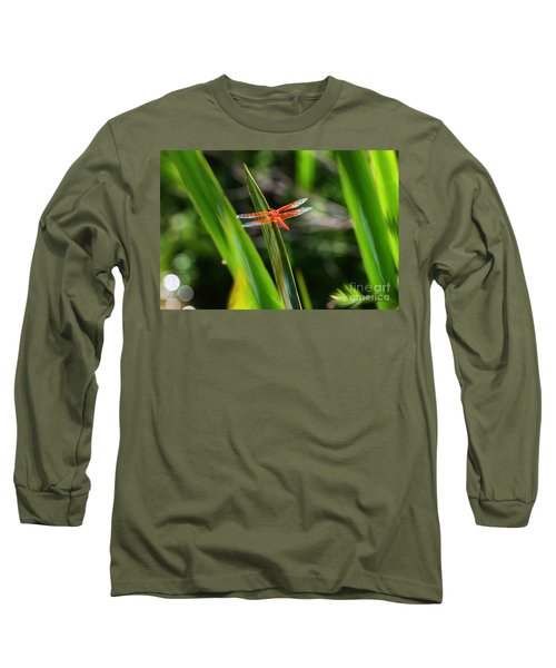 Sparkling Red Dragonfly Long Sleeve T-Shirt