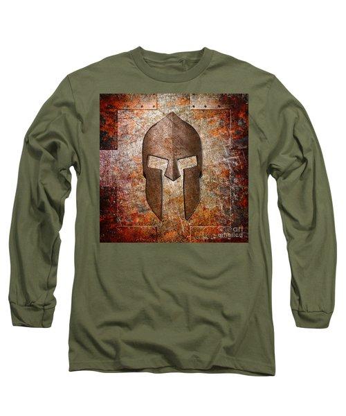 Spartan Helmet On Rusted Riveted Metal Sheet Long Sleeve T-Shirt