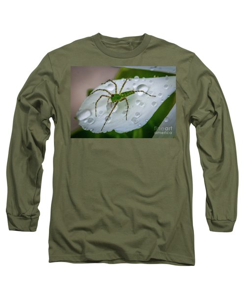 Spider And Flower Petal Long Sleeve T-Shirt by Tom Claud