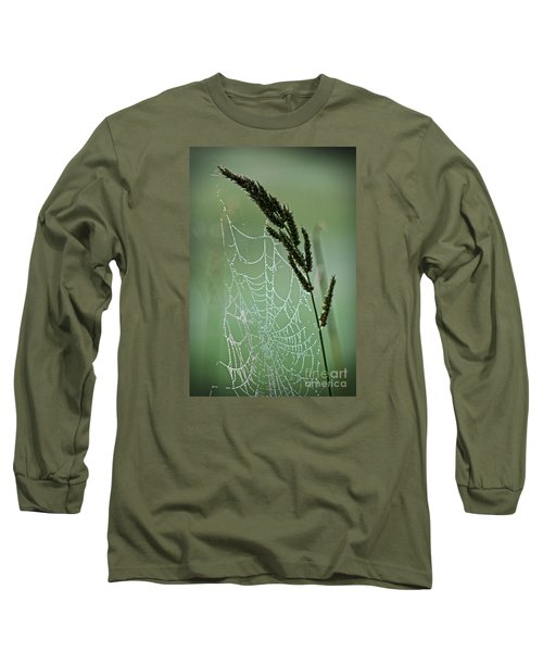 Spider Web Art By Nature Long Sleeve T-Shirt by Ella Kaye Dickey