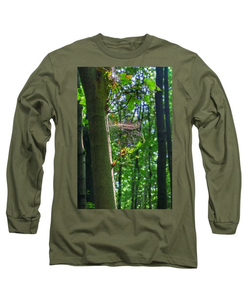 Spider Web In A Forest Long Sleeve T-Shirt