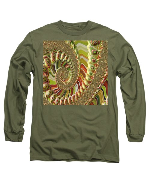 Spiral Fractal Long Sleeve T-Shirt by Bonnie Bruno