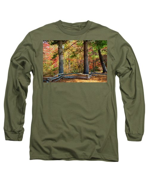 Split Rail Fence And Autumn Leaves Long Sleeve T-Shirt