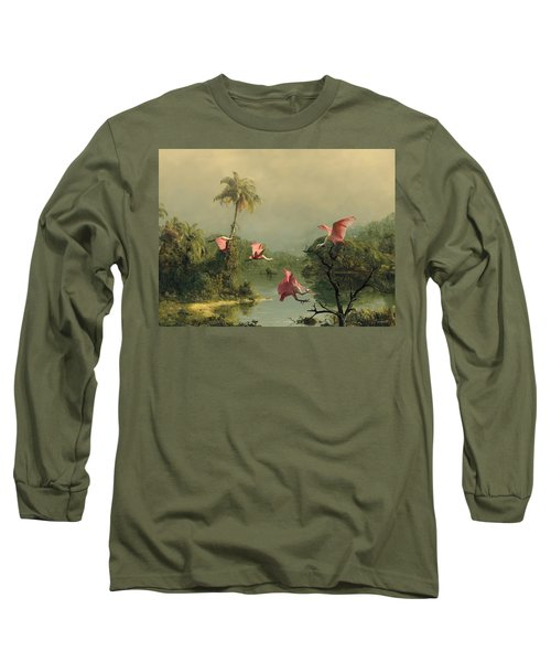Spoonbills In The Mist Long Sleeve T-Shirt by Spadecaller