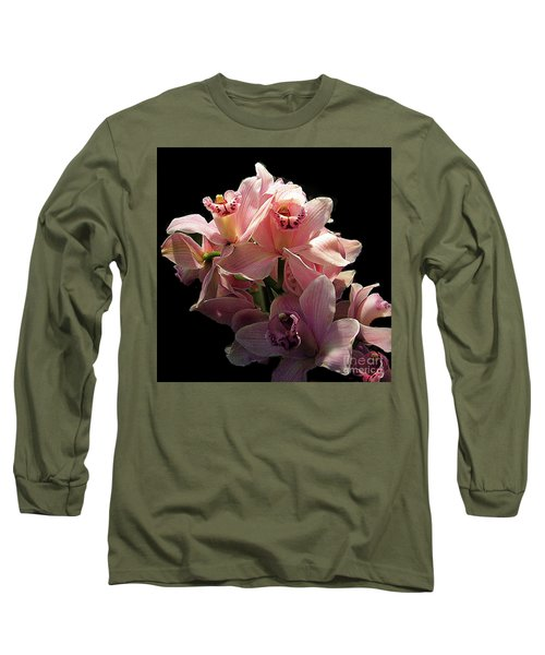 Spray Of Pink Orchids Long Sleeve T-Shirt by Merton Allen