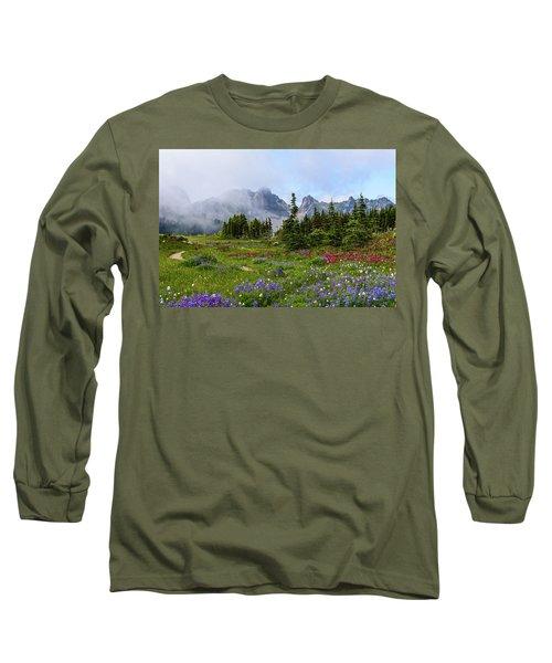Spray Park In Mount Rainier Long Sleeve T-Shirt