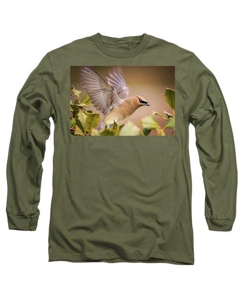 Spread Your Wings Cedar Waxwing  Long Sleeve T-Shirt