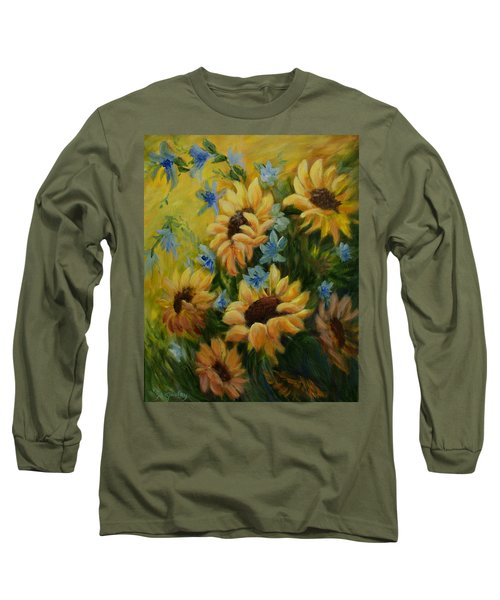Sunflowers Galore Long Sleeve T-Shirt by Joanne Smoley