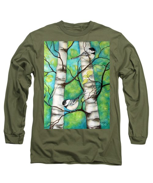 Long Sleeve T-Shirt featuring the painting Spring Chickadees by Inese Poga