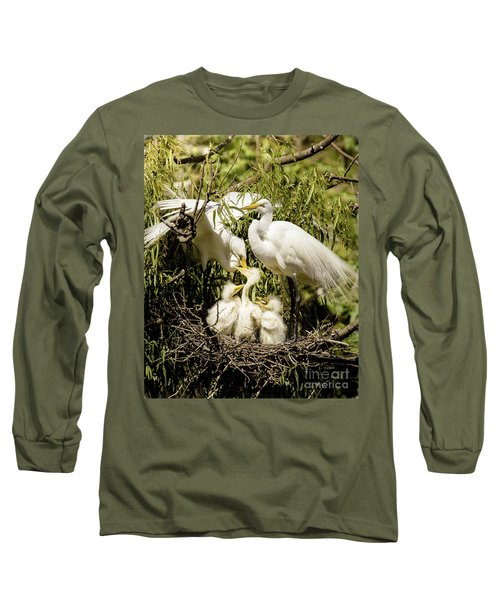 Spring Egret Chicks Long Sleeve T-Shirt by Robert Frederick