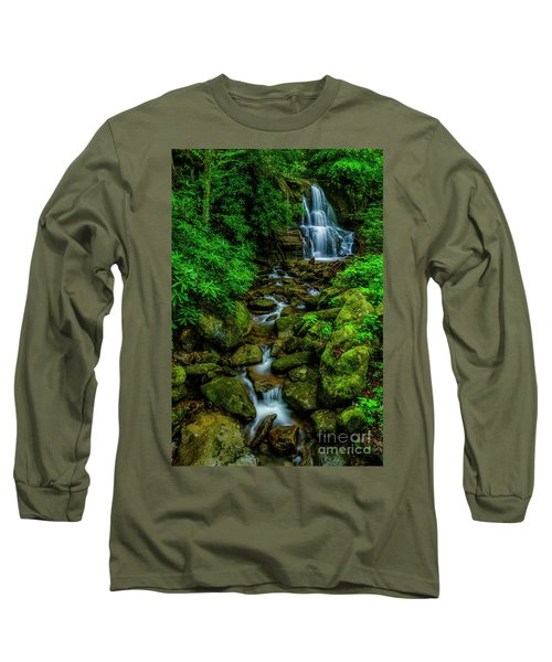 Spring Green Waterfall And Rhododendron Long Sleeve T-Shirt