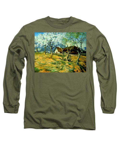 Long Sleeve T-Shirt featuring the painting Spring In Poland by Henryk Gorecki