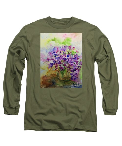 Spring Purple Flowers Watercolor Long Sleeve T-Shirt by AmaS Art