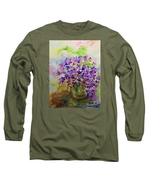 Spring Purple Flowers Watercolor Long Sleeve T-Shirt