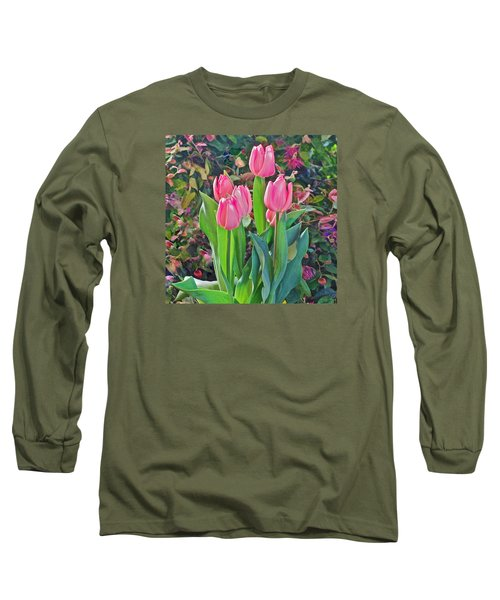 Spring Show 14 Pink Tulips  Long Sleeve T-Shirt by Janis Nussbaum Senungetuk
