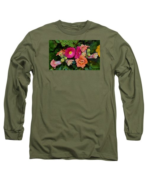 Spring Show 15 Snapdragons And English Daisy Long Sleeve T-Shirt by Janis Nussbaum Senungetuk