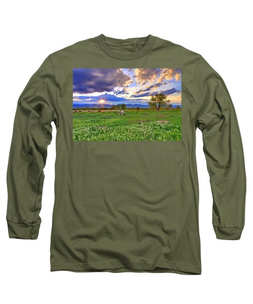 Spring Sunset Over The Rockies Long Sleeve T-Shirt by Scott Mahon
