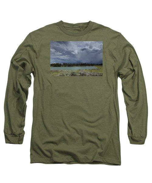 Spring Thunderstorm At Yellowstone Long Sleeve T-Shirt
