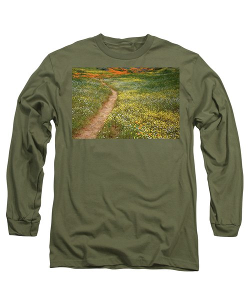 Long Sleeve T-Shirt featuring the photograph Spring Trail Through A Sea Of Wildflowers At Diamond Lake In California by Jetson Nguyen