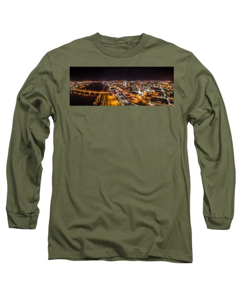 Springfield Massachusetts Night Long Exposure Panorama Long Sleeve T-Shirt by Petr Hejl
