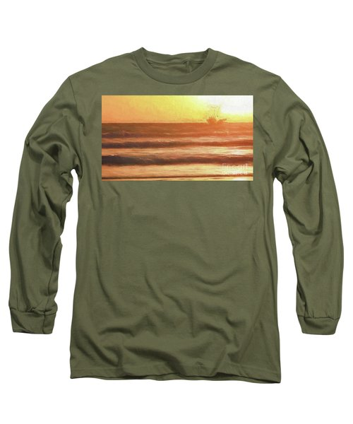 Squid Boat Sunset Long Sleeve T-Shirt