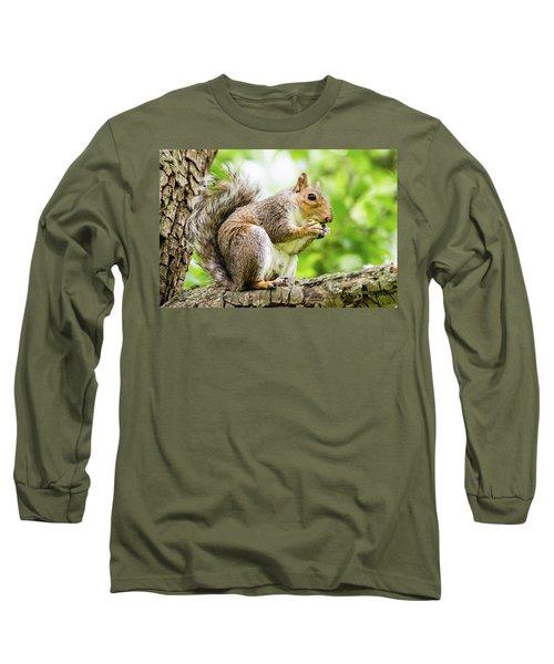 Squirrel Eating On A Branch Long Sleeve T-Shirt