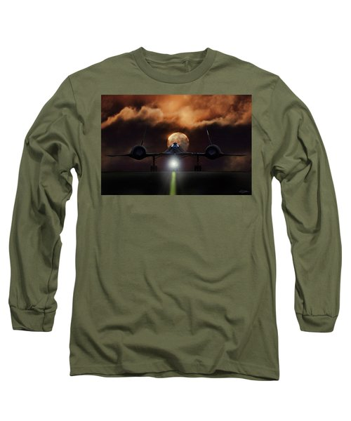Long Sleeve T-Shirt featuring the digital art Sr-71 Supermoon by Peter Chilelli