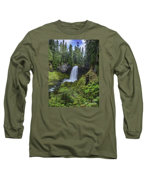 Long Sleeve T-Shirt featuring the photograph Sahalie Falls,oregon by Nancy Marie Ricketts