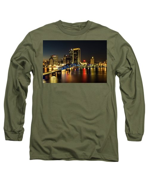 St Johns River Skyline By Night, Jacksonville, Florida Long Sleeve T-Shirt
