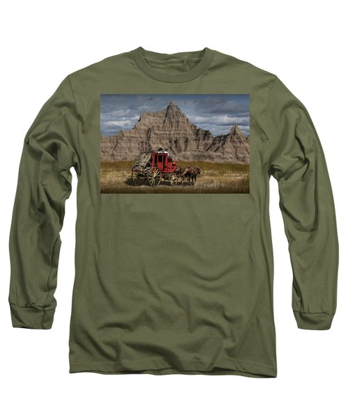 Stage Coach In The Badlands Long Sleeve T-Shirt