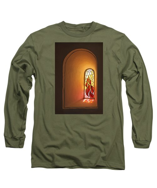 Long Sleeve T-Shirt featuring the photograph Stained Glass Window by Inge Riis McDonald