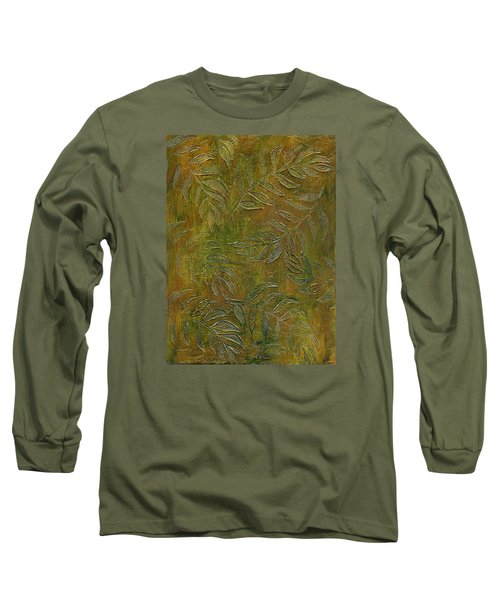 Stamped Textured Leaves Long Sleeve T-Shirt