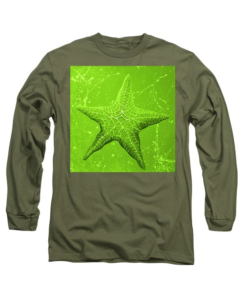 Long Sleeve T-Shirt featuring the painting Starfish In Green by William Love