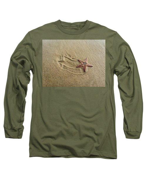 Starfish On The Beach Long Sleeve T-Shirt by Debra Martz