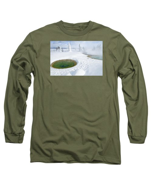 Long Sleeve T-Shirt featuring the photograph Steam And Snow by Gary Lengyel