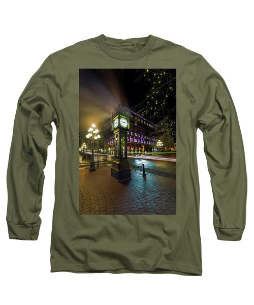 Steam Clock In Gastown Vancouver Bc At Night Long Sleeve T-Shirt
