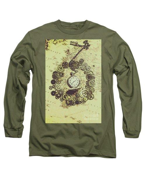 Steampunk Travel Map Long Sleeve T-Shirt