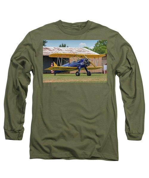 Stearman And Old Hangar Long Sleeve T-Shirt