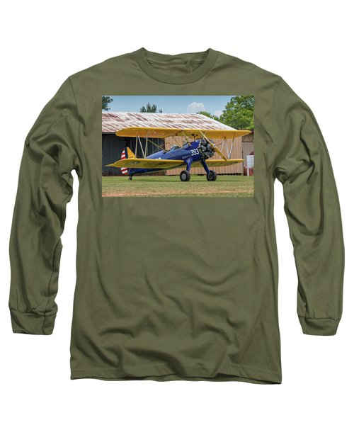 Stearman And Old Hangar Long Sleeve T-Shirt