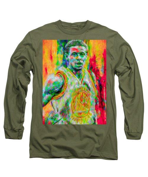 Stephen Curry Golden State Warriors Digital Painting Long Sleeve T-Shirt by David Haskett