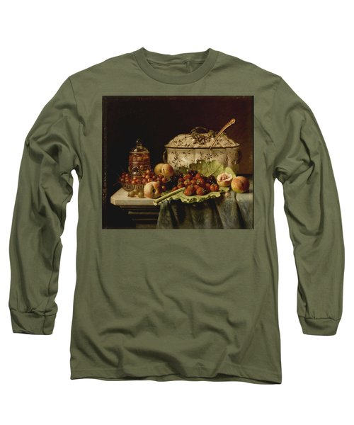 Still Life  Fruit And Dishes  Late 19th Century Oil On Panel Gottfried Schultz  German  1842  1919 Long Sleeve T-Shirt