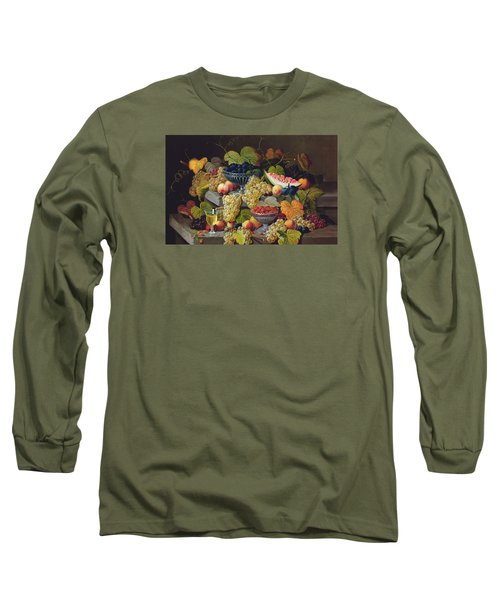 Still Life Of Melon Plums Grapes Cherries Strawberries On Stone Ledge Long Sleeve T-Shirt