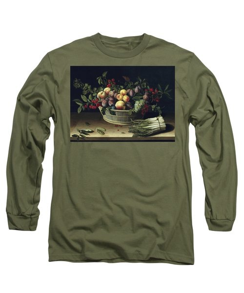 Still Life With A Basket Of Fruit And A Bunch Of Asparagus Long Sleeve T-Shirt