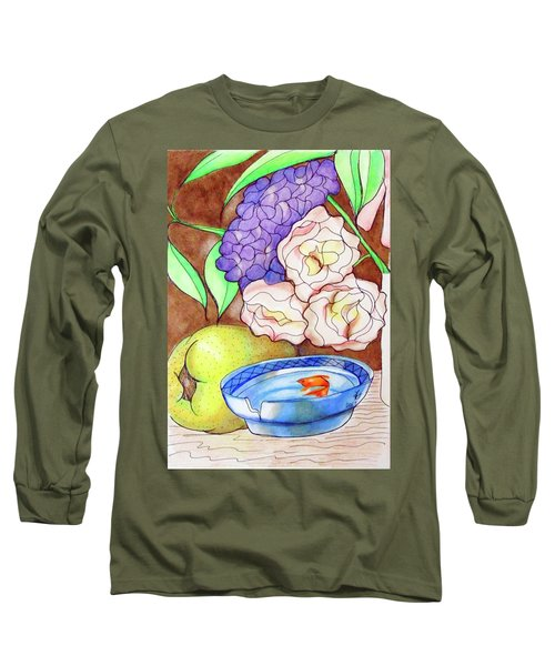 Still Life With Fish Long Sleeve T-Shirt by Loretta Nash